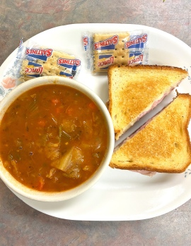 Grilled Ham & Cheese with Soup